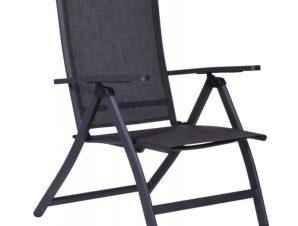 """Πολυθρόνα """"SONATA"""" αλουμινίου με textilene σε χρώμα ανθρακί 67x59x110"""
