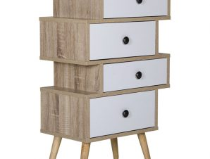 """Συρταριέρα """"EARTH"""" με 4 συρτάρια σε καφέ χρώμα 47×29,5×81"""