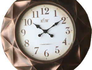 Πλαστικό ρολόι τοίχου σε χρώμα μπρονζέ με λευκό καντράν Φ61