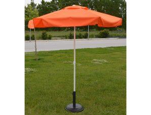Ομπρέλα στρόγγυλη επαγγελματική με αδιάβροχο ύφασμα σε πορτοκαλί χρώμα