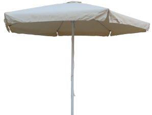 Ομπρέλα στρόγγυλη 3 μέτρα αλουμινίου με αδιάβροχο ύφασμα σε εκρού χρώμα