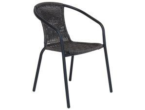 """Πολυθρόνα μεταλλική """"SONIA"""" με πλέξη wicker σε χρώμα γκρι 54x55x75"""