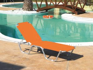 """Ξαπλώστρα θαλάσσης """"MARINE"""" σε πορτοκαλί χρώμα 193x62x30"""