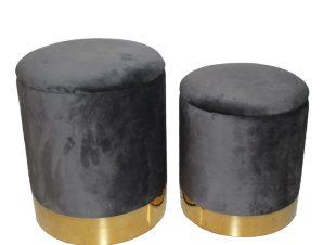 Σετ σκαμπό-πουφ 2 τεμάχια σε χρώμα γκρι/χρυσό Φ36×45