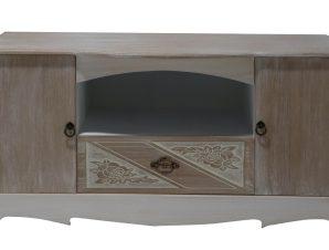 """Έπιπλο τηλεόρασης """" MADY"""" σε χρώμα antique μπεζ με επιφάνεια καφέ 100x43x51"""