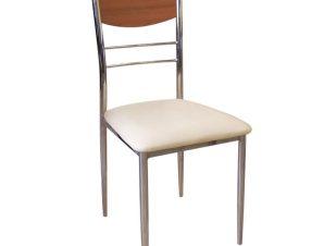 """Καρέκλα """"DINO"""" χρωμίου-τεχνόδερμα σε εκρού χρώμα 42x41x90"""