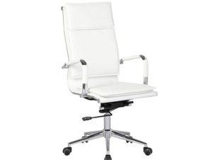 Πολυθρόνα διευθυντή από τεχνόδερμα σε λευκό χρώμα 55x63x108/116