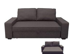 """Καναπές-κρεβάτι """"ALISON"""" διθέσιος από ύφασμα σε σκούρο καφέ 176x102x91"""