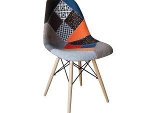 """Καρέκλα """"ART Wood"""" πολυπροπυλενίου-ύφασμα patchwork 47x54x82"""