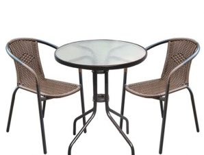 """Σετ κήπου """"BALENO"""" μεταλλικό-wicker σε καφέ χρώμα 60×70"""