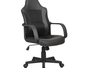 Πολυθρόνα διευθυντή από ύφασμα mesh/τεχνόδερμα σε μαύρο χρώμα 54x62x98/107