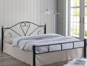 """Κρεβάτι """"LAZAR"""" διπλό μεταλλικό σφυρηλάτο μαύρο χρώμα 168x210x95"""
