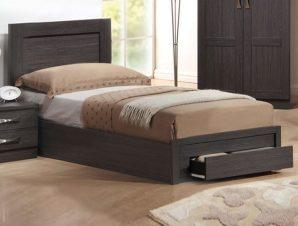 """Κρεβάτι-συρτάρι """"LIFE"""" ημίδιπλο σε χρώμα zebrano 118x207x93"""