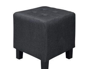 """Σκαμπώ βοηθητικό """"MEDEA"""" υφασμάτινο σε μαύρο χρώμα 37x37x42"""