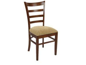 """Καρέκλα """"NATURALE-L"""" ξύλινη-υφασμάτινη σε καρυδί-μπεζ χρώμα 42x50x91"""