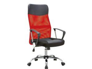 Πολυθρόνα διευθυντή από mesh και τεχνόδερμα σε κόκκινο-μαύρο χρώμα 61x68x108/118