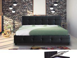 """Κρεβάτι """"FIDEL"""" διπλό απο τεχνόδερμα σε μαύρο χρώμα 168x215x107"""