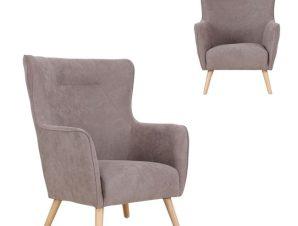 """Πολυθρόνα """"DALIA"""" υφασμάτινη σε ανοιχτό καφέ χρώμα 76x88x110"""