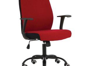 Πολυθρόνα εργασίας σε κόκκινο-μαύρο χρώμα 61x57x94/104