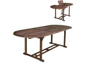 """Τραπέζι οβάλ """"GARDEN"""" επεκτεινόμενο ξύλινο σε καρυδί χρώμα 120/170x80x74"""