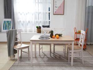 """Σετ τραπεζαρίας """"DAILY"""" ξύλινη σε χρώμα λευκό-φυσικό χρώμα 118x74x73"""