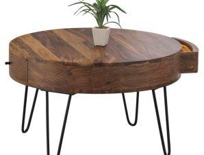 """Τραπέζακι σαλονιού """"KARIM"""" ξύλινο-μεταλλικό σε μαύρο-φυσικό χρώμα Φ70×42"""