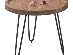 """Τραπέζακι βοηθητικό """"MATRI"""" ξύλινο-μεταλλικό σε μαύρο-φυσικό χρώμα Φ45×40"""
