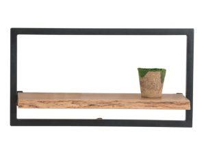 """Ράφι τοίχου """"LIZARD"""" ξύλινο-μεταλλικό σε φυσικό χρώμα 65x25x35"""