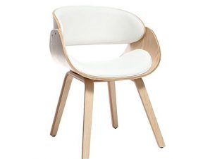 """Πολυθρόνα """"JOY"""" ξύλινη/PU σε χρώμα φυσικό/λευκό 58x52x76"""