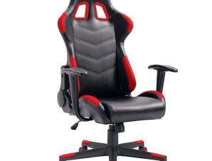 """Πολυθρόνα εργασίας """"GAMING"""" από PU σε χρώμα μαύρο/κόκκινο 69x56x125/135"""
