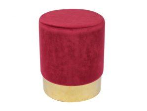 """Σκαμπό βοηθητικό """"SOL"""" από ύφασμα σε χρώμα κόκκινο Φ37×44"""