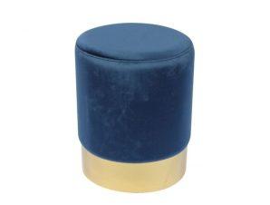"""Σκαμπό βοηθητικό """"SOL"""" από ύφασμα σε χρώμα μπλε Φ37×44"""