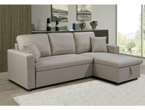 """Καναπές-κρεβάτι """"MONTREAL"""" γωνία αναστρέψιμος σε μπεζ χρώμα 223/146x81x83"""