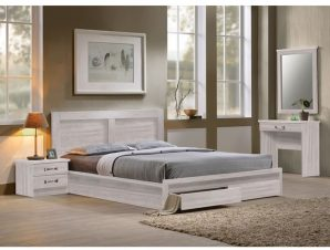 """Κρεβάτι-συρτάρια """"LIFE"""" διπλό σε χρώμα white wash 168x207x93"""
