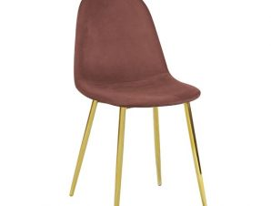 """Καρέκλα """"CELINA"""" μεταλλική-βελούδινη σε χρώμα antique pink 45x54x85"""