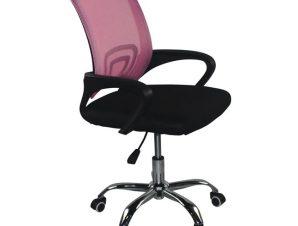 """Πολυθρόνα εργασίας """"BF2101-F"""" από ύφασμα mesh σε ροζ-μαύρο χρώμα 55x57x86/96"""
