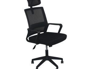 """Πολυθρόνα εργασίας """"BF2020"""" από ύφασμα mesh σε μαύρο χρώμα 60x63x107/115"""