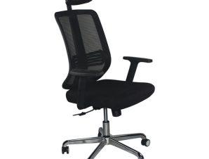 """Πολυθρόνα εργασίας """"BF9500"""" από ύφασμα mesh σε μαύρο χρώμα 68x72x115/123"""