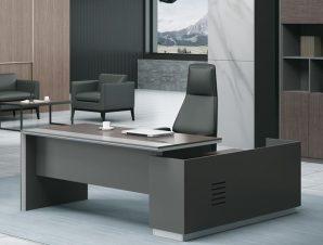 """Γραφείο """"ADVANCE"""" αριστερή γωνία σε σκούρο καρυδί-γκρι χρώμα 220×90/160×40/75"""