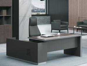 """Γραφείο """"ADVANCE"""" δεξιά γωνία σε σκούρο καρυδί-γκρι χρώμα 240×90/160×40/75"""