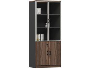 """Βιβλιοθήκη """"ADVANCE"""" σε σκούρο καρυδί-γκρι χρώμα 80x40x200"""