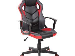 Πολυθρόνα διευθυνττή από ύφασμα mesh-pu σε μαύρο-κόκκινο χρώμα 62x59x105/117