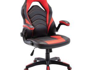 Πολυθρόνα διευθυντή από τεχνόδερμα σε μαύρο/κόκκινο χρώμα 71x67x115/127