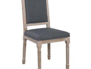 """Καρέκλα τραπεζαρίας """"JAMESON"""" από ξύλο/ύφασμα σε χρώμα φυσικό/γκρι 45x53x95"""