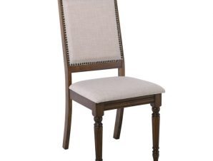"""Καρέκλα τραπεζαρίας """"BARCO"""" από ξύλο/ύφασμα σε χρώμα καρυδί/μπεζ 48x57x98"""