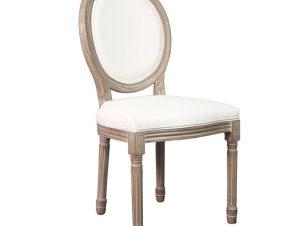 """Καρέκλα τραπεζαρίας """"JAMESON"""" από ξύλο/PU σε χρώμα λευκό/φυσικό 49x55x95"""