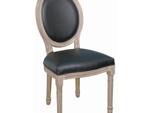"""Καρέκλα τραπεζαρίας """"JAMESON"""" από ξύλο/PU σε χρώμα φυσικό/μαύρο 49x55x95"""