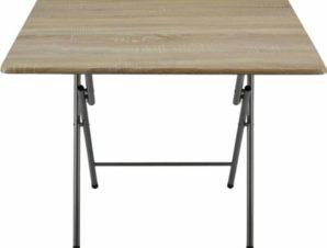 Τραπέζι πτυσσόμενο μεταλλικό σε χρώμα οξιάς 70x70x71