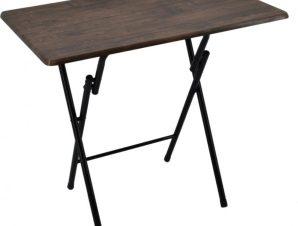 Τραπέζι πτυσσόμενο μεταλλικό σε χρώμα σκούρο καφέ 80x50x70