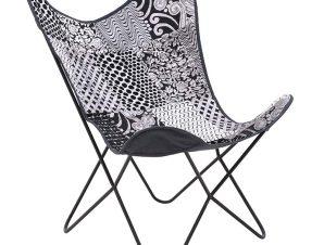 Πολυθρόνα εξωτερικού χώρου μεταλλική-υφασμάτινη σε ασπρόμαυρο χρώμα 65x55x85